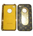 LV LOUIS VUITTON Luxury leather Cases Hard Back Covers for iPhone 4G/4S - Brown