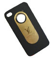 LV LOUIS VUITTON Ultrathin Matte Color Covers Hard Cases for iPhone 4G/4S - Black