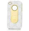 Luxury GUCCI leather Cases Hard Back Covers for iPhone 4G/4S - White