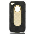 Luxury LV LOUIS VUITTON leather Cases Hard Back Covers for iPhone 4G/4S - Black