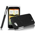 IMAK Cowboy Shell Quicksand Hard Cases Covers for HTC T328d Desire VC - Black (High transparent screen protector)
