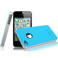 IMAK Ultrathin Double Color Covers Hard Cases for iPhone 4G\4S - Blue (High transparent screen protector)