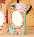 Bling Mirror Bowknot Crystal Cases Pearls Covers for iPhone 5 - Blue
