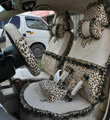 Bow Lace Universal Leopard Auto Car Seat Cover Set Short velvet 19pcs - Beige