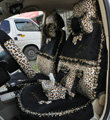Bow Lace Universal Leopard Auto Car Seat Cover Set Short velvet 19pcs - Black