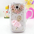 Bling Ballet Girl Crystal Cases Diamond Covers for Samsung I699 GALAXY Trend - Pink