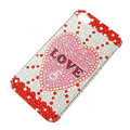 Bling Swarovski crystal cases Love diamond covers for iPhone 5 - Red