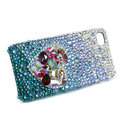 Bling Swarovski crystal cases Love heart diamond covers for iPhone 5 - Blue