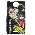 Bling Swarovski crystal cases Mickey Mouse diamond covers for HTC One X Superme Edge S720E - Black