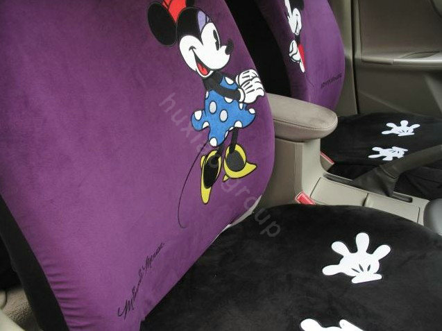 buy wholesale mickey minnie mouse universal auto car seat cover set short velvet 10pcs purple. Black Bedroom Furniture Sets. Home Design Ideas