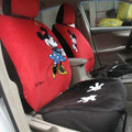 Mickey Minnie Mouse Universal Auto Car Seat Cover Set Short velvet 10pcs - Red