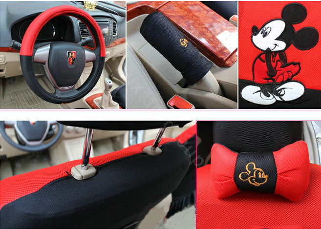 buy wholesale mickey mouse universal auto car seat cover set cartoon 18pcs red black car seat. Black Bedroom Furniture Sets. Home Design Ideas