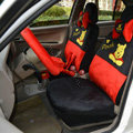 Winnie the pooh Universal Auto Car Seat Cover Set Short velvet 18pcs - Red Black