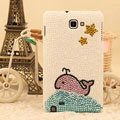 Bling Whale Crystal Cases Pearls Covers for Samsung Galaxy Note i9220 N7000 i717 - White
