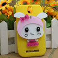 Cute Rabbit Silicone Cases Covers Skin for HTC T528t One ST - Yellow