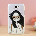 Glasses girl Hard Cases Covers Skin for Samsung N7100 GALAXY Note2 - Purple