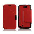 Side Flip leather Cases luxury Holster Skin for Samsung N7100 GALAXY Note2 - Red