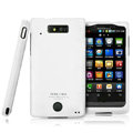 IMAK Armor Knight Full Cover Matte Color Shell Hard Cases for Motorola WX435 Triumph - White (High transparent screen protector)