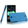 IMAK Cowboy Shell Quicksand Hard Cases Covers for Sony Ericsson LT29i Xperia Hayabusa Xperia GX/TX - Blue (High transparent screen protector)