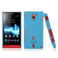 IMAK Cowboy Shell Quicksand Hard Cases Covers for Sony Ericsson MT27i Xperia sola - Blue (High transparent screen protector)