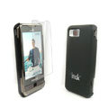 IMAK Ultrathin Color Covers Hard Cases for Samsung i900 i908 - Black (High transparent screen protector)