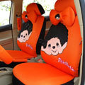 Monchhichi Universal Auto Car Seat Cover Set 18pcs - Orange