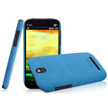 IMAK Cowboy Shell Quicksand Hard Cases Covers for HTC T528t One ST - Blue (High transparent screen protector)