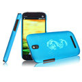 IMAK Ultrathin Dragon Color Covers Hard Cases for HTC T528t One ST - Blue (High transparent screen protector)
