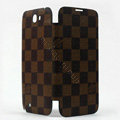 LOUIS VUITTON LV Battery back Cover Siamese holster leather cases for Samsung N7100 GALAXY Note2 - Brown