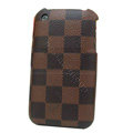 LV LOUIS VUITTON leather Cases Hard Back Covers Skin for iPhone 3G/3GS - Coffee