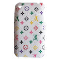 LV LOUIS VUITTON leather Cases Hard Back Covers Skin for iPhone 3G/3GS - White