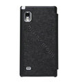 Nillkin England Retro Leather Cases Holster Covers for LG F160L Optimus LTE II 2 - Black (High transparent screen protector)