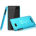 IMAK Ultrathin Dragon Color Covers Hard Cases for HTC T528w One SU - Blue (High transparent screen protector)