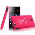 IMAK Ultrathin Rose Color Covers Hard Cases for Sony Ericsson ST23i Xperia miro - Rose (High transparent screen protector)