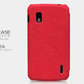 Nillkin leather Cases Holster Covers Skin for LG E960 Nexus 4 - Red (High transparent screen protector)