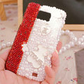 Bling Bear Crystal Cases Pearls Covers for Samsung i9100 i9108 i9188 Galasy S2 SII - White