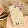 Bling Bowknot Crystal Case Pearls Covers for Samsung Galaxy SIII S3 I9300 I9308 I939 I535 - White