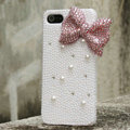 Bling Bowknot Rhinestone Crystal Cases Pearls Covers for iPhone 5 - Pink