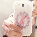 Bling Deer Crystal Case Pearls Covers for Samsung Galaxy SIII S3 I9300 I9308 I939 I535 - White