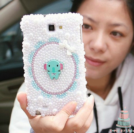 NAME:Bling Elephant Crystal Cases Pearls Covers for Samsung Galaxy Note i9220 N7000 i717 - White - Bling-Elephant-Crystal-Cases-Pearls-Covers-for-Samsung-Galaxy-Note-i9220-N7000-i717-White-l2