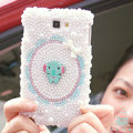 Bling Elephant Crystal Cases Pearls Covers for Samsung Galaxy Note i9220 N7000 i717 - White