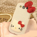 Bling Hello kitty Crystal Case Pearls Covers for Samsung Galaxy SIII S3 I9300 I9308 I939 I535 - Red