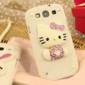 Bling Hello kitty Crystal Case Pearls Covers for Samsung Galaxy SIII S3 I9300 I9308 I939 I535 - White