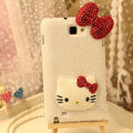 Bling Hello kitty Crystal Cases Pearls Covers for Samsung N7100 GALAXY Note2 - White
