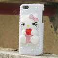 Bling Hello kitty Crystal Cases Rhinestone Pearls Covers for iPhone 5 - White
