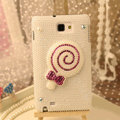 Bling Lollipop Crystal Cases Pearls Covers for Samsung N7100 GALAXY Note2 - White