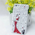 Bling Pretty girl Crystal Cases Rhinestone Pearls Covers for iPhone 5 - Red