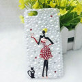 Bling Pretty girl Rhinestone Crystal Cases Pearls Covers for iPhone 5 - Red