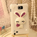Bling Rabbit Crystal Cases Pearls Covers for Samsung N7100 GALAXY Note2 - White