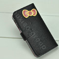 Hello Kitty Side Flip leather Case Holster Cover Skin for iPhone 5 - Black